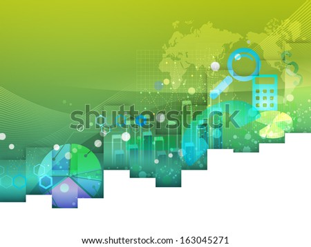 green background with charts - stock photo