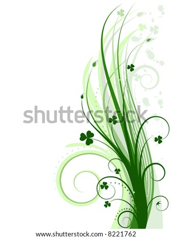 Green background with clovers - stock photo