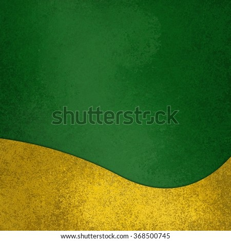 green background with fancy elegant wavy gold design element on bottom border, abstract waved yellow decoration - stock photo