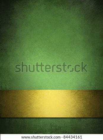 Green background with gold ribbon and old vintage grunge background texture elegant green wallpaper or paper, green and gold Christmas background or web design of festive Irish background for holiday - stock photo