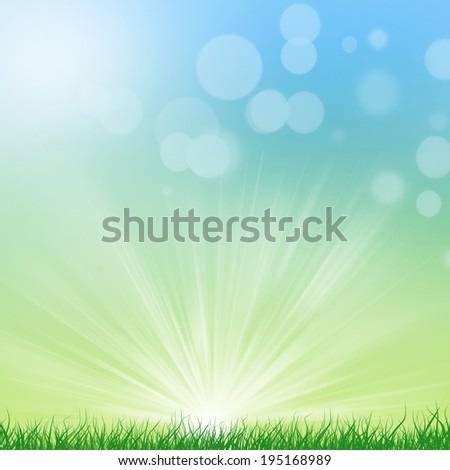 Green Background With Green Grass And Sunburst - stock photo