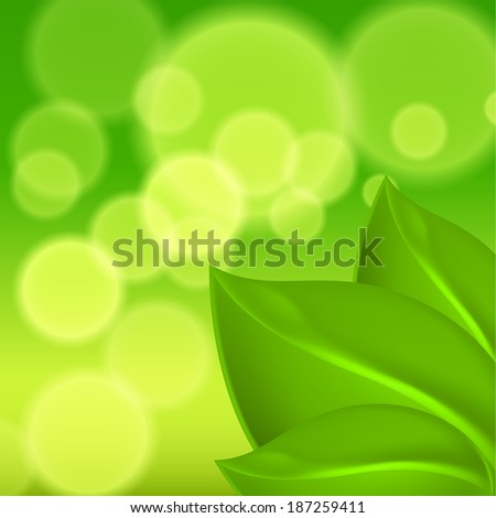 Green background with leaves. Raster version.