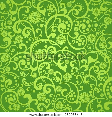 Green background with lime.  illustration - stock photo