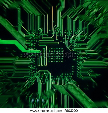 green background with motherboard's electronic circuit