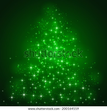 Green background with shining stars and blurry lights, illustration. - stock photo