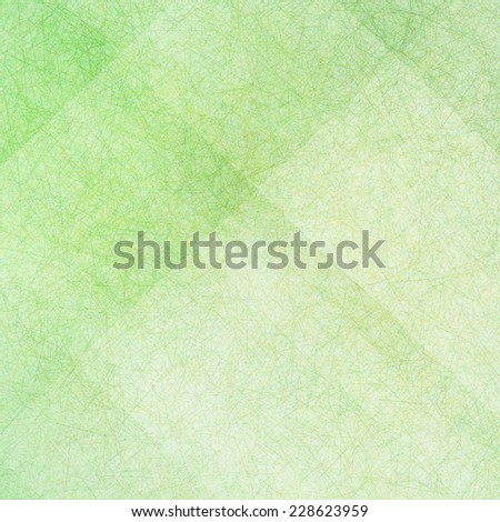 green background with white angled blocks and stripes in abstract pattern with vintage scratch texture design and faint detailed brush strokes - stock photo