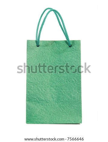 Green bag isolated on white (clipping path) - stock photo