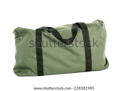 Green bag isolated over white background - stock photo