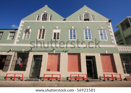 Green Bahamas house in Nassau, Bahamas. - stock photo