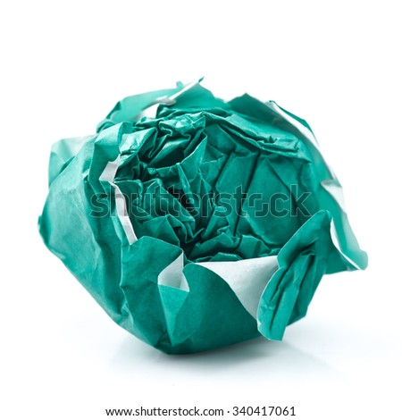 green ball crumpled paper on a white background