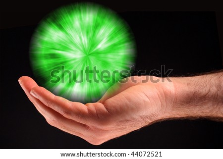 Green Ball of Light - stock photo