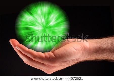 Green Ball of Light - stock photo