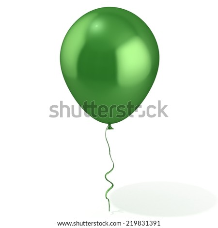Green balloon with ribbon, isolated on white background - stock photo