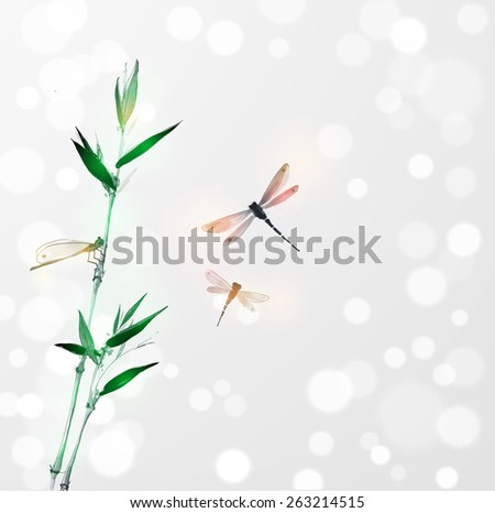 Green bamboo branch and three dragonflies on white glowing background. Hand-drawn with ink in traditional Japanese style sumi-e. Raster version. - stock photo