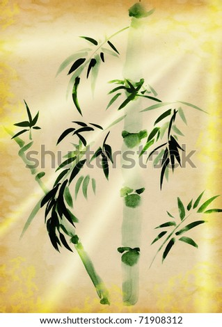 Green Bamboo drawn in traditional east style on yellow paper