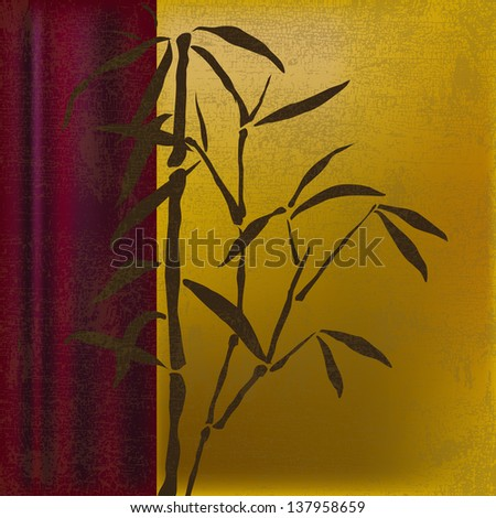 Green bamboo on a burgundy and yellow gold background. - stock photo