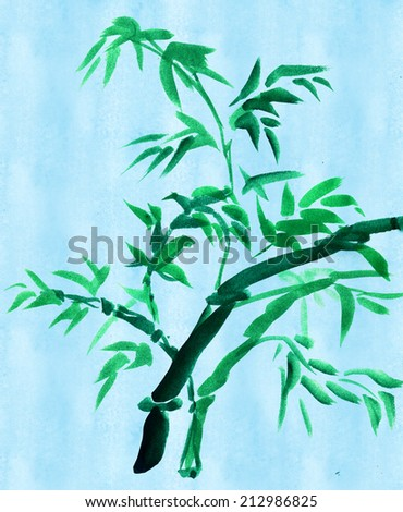 Green bamboo on a turquoise background paper, painted in watercolor in oriental style