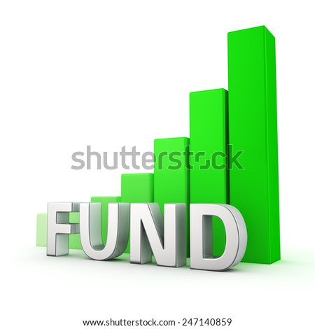 Green bar graph of Fund on white. Growth and development concept. - stock photo