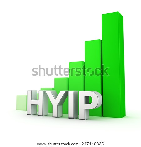 Green bar graph of HYIP on white. Growth and development concept. - stock photo