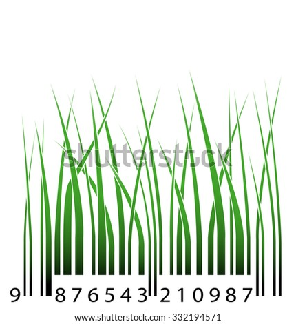 Green barcode with grass - stock photo