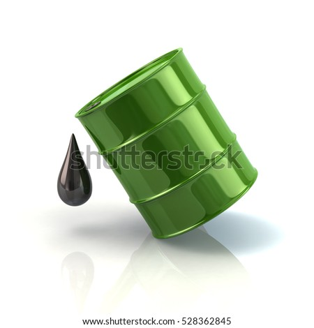 Green barrel oil icon 3d rendering on white background