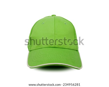 green baseball cap isolated on white background, studio shot
