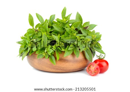 Green basil leaves in bamboo plate and cherry tomatoes on white background - stock photo