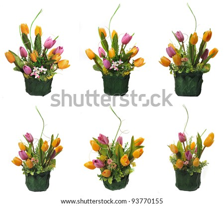 Green basket decorated with artificial flowers  - six angle
