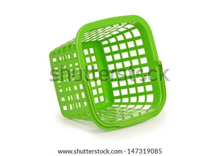 Green basket on white background - stock photo