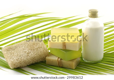 Green bathroom set for spa - stock photo