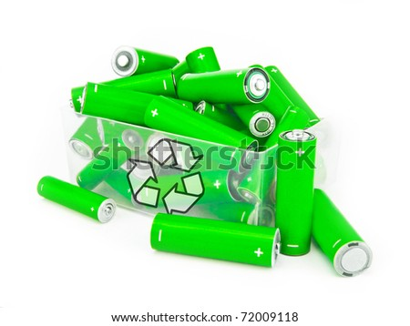 Green batteries with recycling symbol in box on white - stock photo