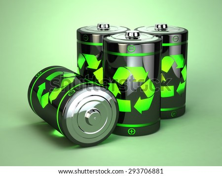 Green battery recycling concept. Eco background. 3d - stock photo