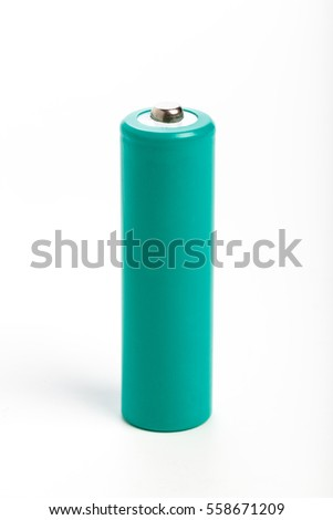 green battery with white background, close up
