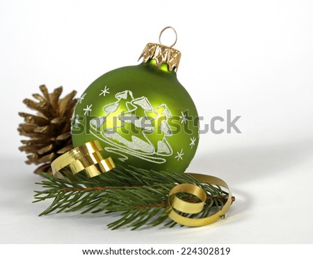 Green bauble with the cone on the white background - stock photo