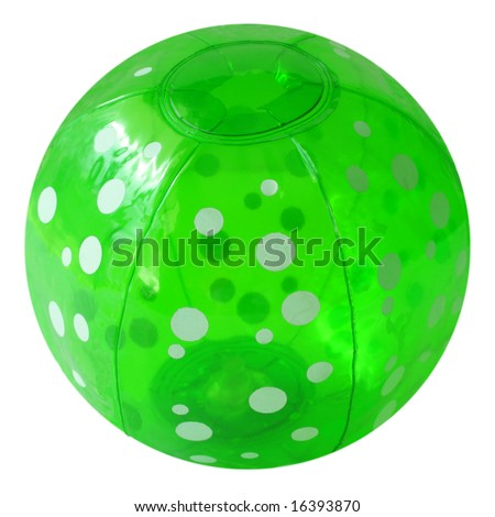 Green Beach ball isolated on white background - stock photo