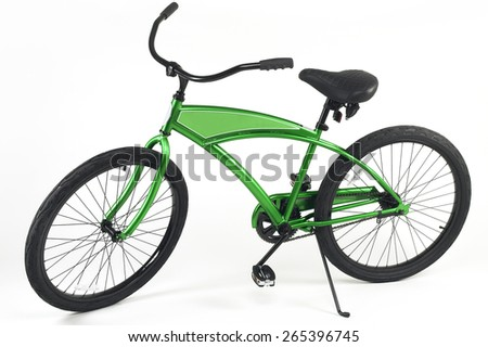 Green Beach Cruiser Bicycle on White Background - stock photo