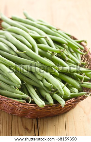 green bean pods in basket - stock photo