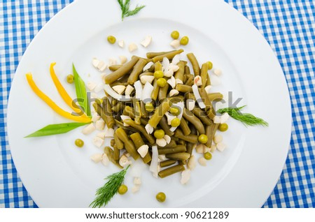 Green bean salad in the plate - stock photo
