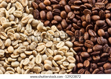 Green beans and roasted coffee beans background