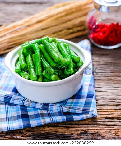 green beans in a white bowl - stock photo