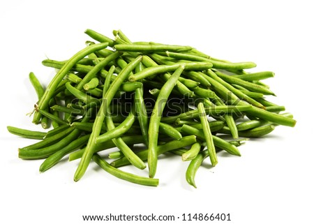 green beans on a white background - stock photo