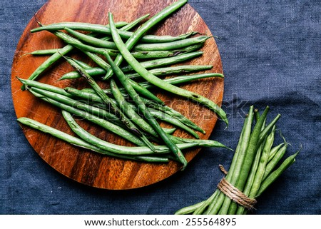Green beans on the table - stock photo