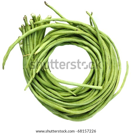 Green beans on white background - stock photo
