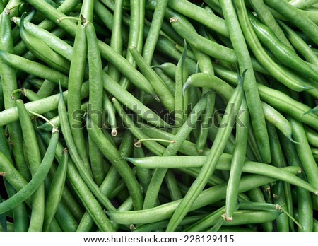 Green beans Raw fruit and vegetable backgrounds overhead perspective, part of a set collection of healthy organic fresh produce - stock photo