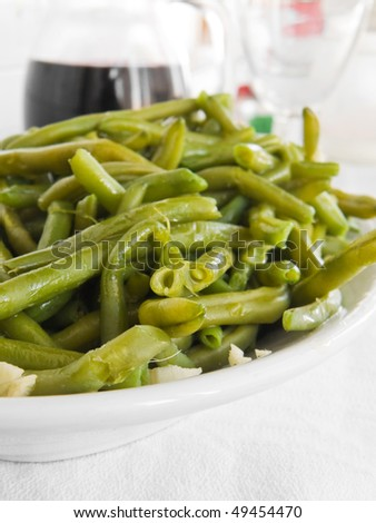 Green Beans Salad with fork.