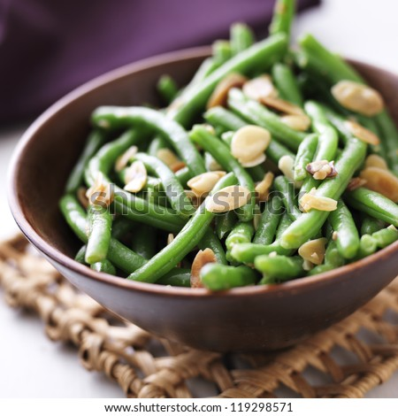 Green beans with almonds - stock photo