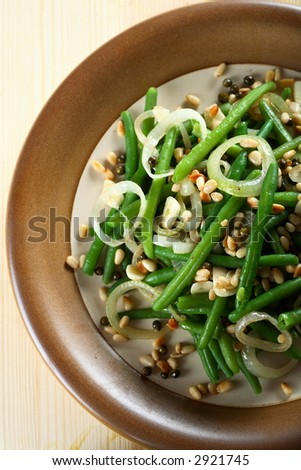 Green beans with cashew - stock photo