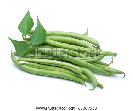 Green beans with leaves on white background