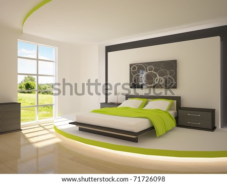 green bedroom - stock photo