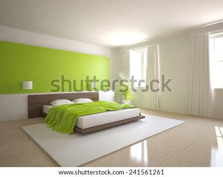 green bedroom design-3D rendering - stock photo